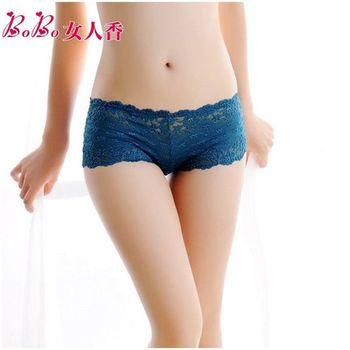 BoBo女人香 法式奢華 水溶蕾絲鏤空刺繡性感低腰平口褲C1006土耳其藍