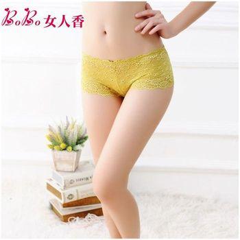 BoBo女人香 法式奢華 水溶蕾絲鏤空刺繡性感低腰平口褲C1006芥末黃