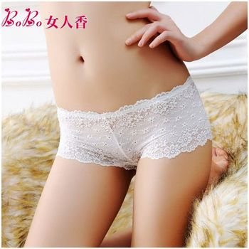 BoBo女人香 法式奢華 水溶蕾絲鏤空刺繡性感低腰平口褲C1006婚紗白