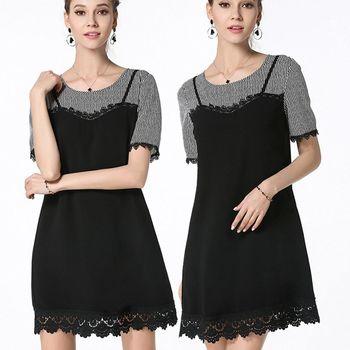麗質達人中大碼 - PM2739條紋拼接假二件式洋裝 M-5XL
