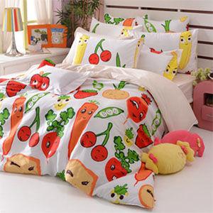 義大利Fancy Belle 蔬果樂園 雙人四件式舖棉兩用被床包組