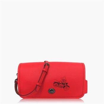 COACH 輕便小包 皮革 / 側背 / 斜背包(米奇限定款) 珊瑚紅
