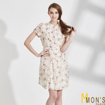 MONS天然素材絲麻印花洋裝