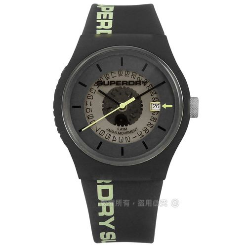 Superdry 極度乾燥 / SYG168B / 復古潮流風日期矽膠手錶 深灰色 38mm
