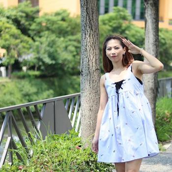 BubbleCoCo 清新刺繡甜美吊帶裙 三碼EA447