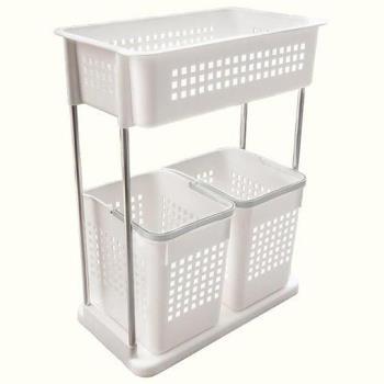 【YourShop】MIT多用途雙層收納置物洗衣籃(置物籃x3)