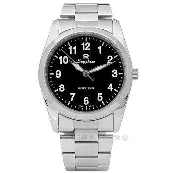 SE Sapphire / SE013M01B / 簡潔大方夜光藍寶石水晶不鏽鋼手錶 黑色 35mm