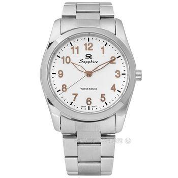 SE Sapphire / SE013M01WG / 簡潔大方夜光藍寶石水晶不鏽鋼手錶 白x玫瑰金 35mm