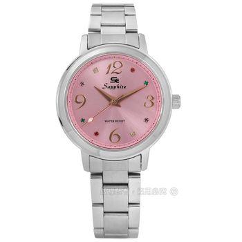 SE Sapphire / SE032L01P / 光芒耀眼彩色晶鑽藍寶石水晶不鏽鋼手錶 粉紅色 31mm