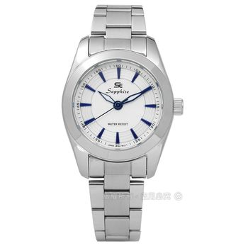 SE Sapphire / SE013L04WB / 沉靜雅緻藍寶石水晶不鏽鋼手錶 白色 29mm