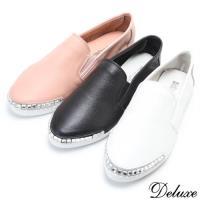 【Deluxe】全真皮簡約時尚素面晶亮方鑽休閒鞋(白☆黑☆粉)-1229-1