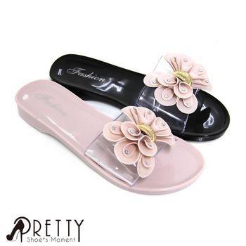 Pretty 柔美立體水鑽捲捲蝴蝶結透視感防水拖鞋-粉紅色、黑色