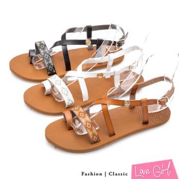 Love Girl 活力夏氛環趾交叉繞踝平底涼鞋