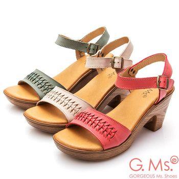 G.Ms. MIT系列-牛皮一字鏤空編織粗跟涼鞋-三色