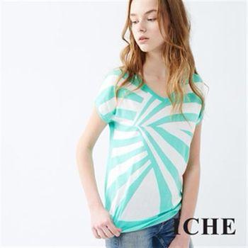 【ICHE 衣哲】幾何放射不規則針織上衣 兩色