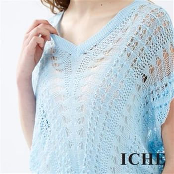【ICHE 衣哲】V領鏤空透視長版針織上衣兩色