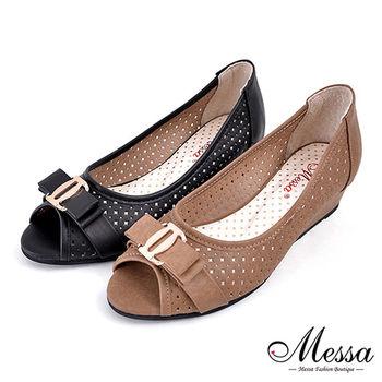 Messa米莎專櫃女鞋-MIT 典雅蝴蝶結鏤空洞洞內真皮楔型魚口鞋-二色