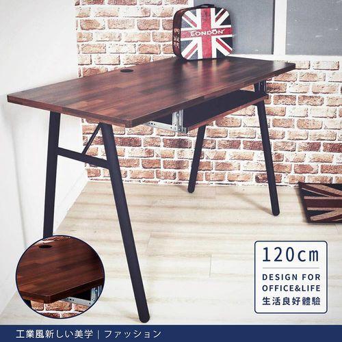 【DIJIA】工業風電腦工作桌120cm 電腦桌 JU-001(胡桃色)