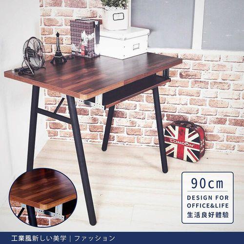 【DIJIA】工業風電腦工作桌90cm 電腦桌 JU-002(胡桃色)