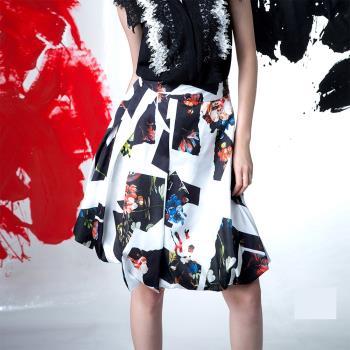 【龐吉 PANGCHI】時尚黑白拼接花卉裙(1615003-91-92)