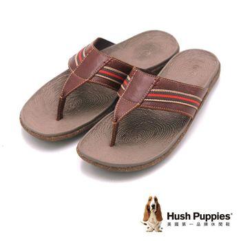 Hush Puppies 休閒時尚 平底夾腳拖鞋 男鞋-棕
