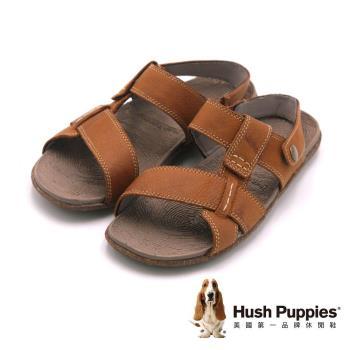 Hush Puppies 涼夏必備輕量超彈力可拆式涼拖鞋 男鞋-棕(另有藍)