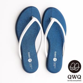 QWQ夾拖的創意(女) - GLITTER閃爍星光白色人字帶夾拖 - 寶石藍