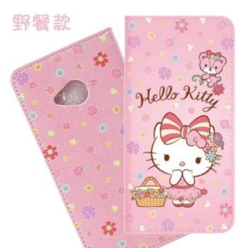 【Hello Kitty】HTC U Play 5.2吋 戀愛系列彩繪可站立皮套(野餐款)