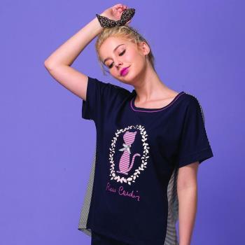 【皮爾卡登】優雅貓短袖居家服(藍)