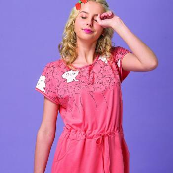 【皮爾卡登】可愛貓束腰居家連身洋裝(橘)