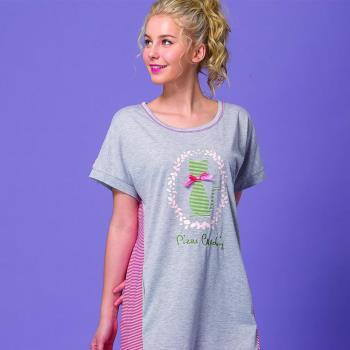 【皮爾卡登】優雅貓短袖連身居家洋裝(紅)