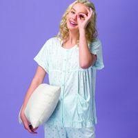 【皮爾卡登】圓點短袖棉質居家服(水藍)