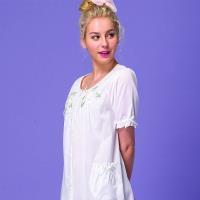 【皮爾卡登】簡約短袖棉質連身睡衣(白)