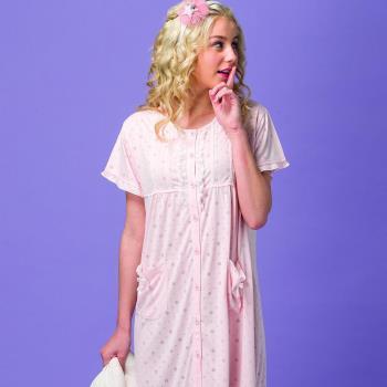 【皮爾卡登】圓點短袖棉質連身睡衣(粉)