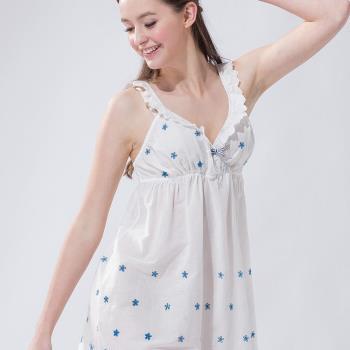 【皮爾卡登】清新簍空花紋連身睡衣