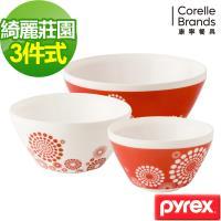 美國康寧Pyrex 綺麗莊園 多功能調理碗3入組-C01