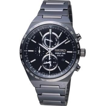 SEIKO 精工 SPIRIT 太陽能世界時間計時腕錶 V195-0AE0SD  SBPJ037J