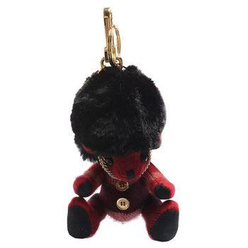 BURBERRY Thomas經典英倫皇家警衛造型格纹羊绒泰迪熊鑰匙圈/吊飾(繽紛紅)