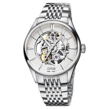 ORIS豪利時 Artelier Skeleton 雙鏤空機械錶 銀 40mm 0173477214051-0782179