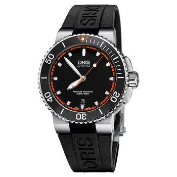 Oris豪利時 Aquis 時間之海潛水機械錶 黑x橘秒針 43mm 0173376534128-0742634EB