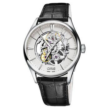 ORIS豪利時 Artelier Skeleton 雙鏤空機械錶 銀x黑 40mm 0173477214051-0752164FC