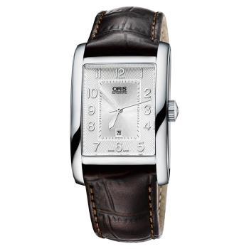 Oris豪利時 Rectangular 日期顯示機械錶 銀x咖啡 30mm 0156176934061-0752220FC