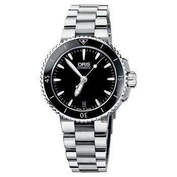 Oris豪利時 Aquis 時間之海潛水機械錶 黑 36mm 0173376524154-0781801P