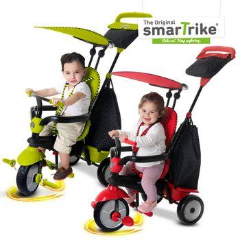福利品 英國smarTrike新一代 英倫俏皮史崔克嬰幼兒4合1三輪車(青蘋綠、櫻桃紅)