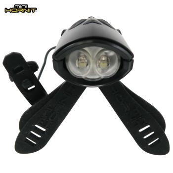 英國MINI HORNIT 蜜蜂燈鈴鐺-自行車/滑板車嬰兒推車用LED車前燈+電子喇叭-黑色