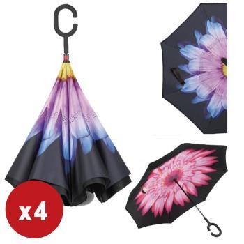 超值4入  花紋抗UV防風免持C型手柄晴雨傘/站立傘/反向傘