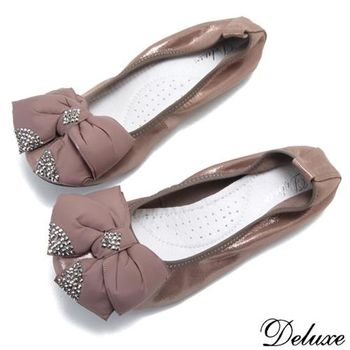 【Deluxe】全真皮粉領OL可愛水鑽蝴蝶結娃娃鞋(咖)-2328-3