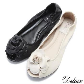 【Deluxe】全真皮薔薇美人柔軟魚口鞋(米☆黑)-A3368-2