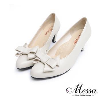 Messa米莎專櫃女鞋- MIT甜美三層蝴蝶結素色內真皮尖頭高跟鞋-兩色