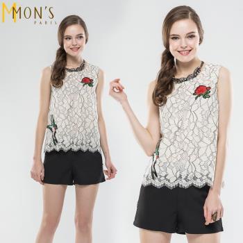 MONS時尚趣味繡造型蕾絲上衣